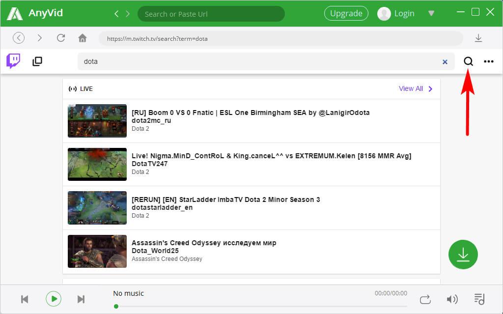 AnyVid Twitch Spielvideosuche