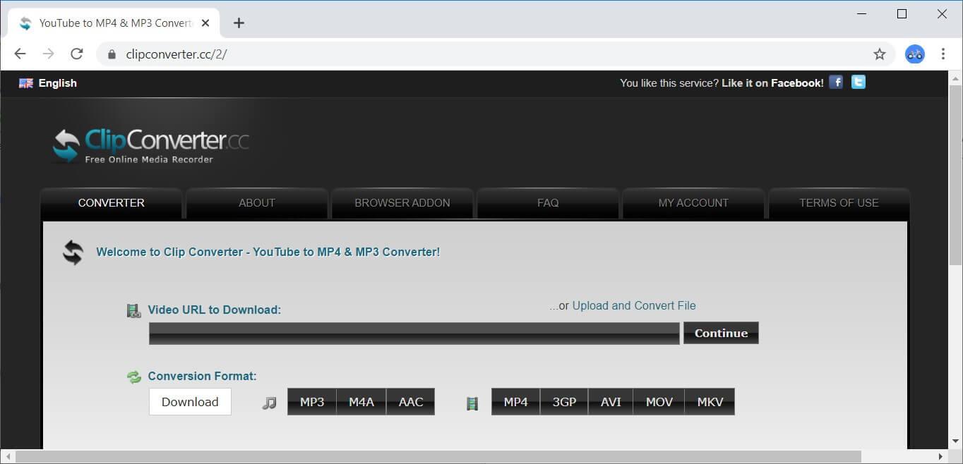 Clip Converter interface