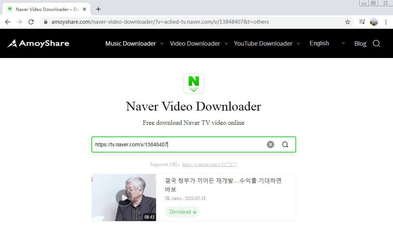 Fügen Sie den Link zu Amoyshare Naver Video Downloader ein
