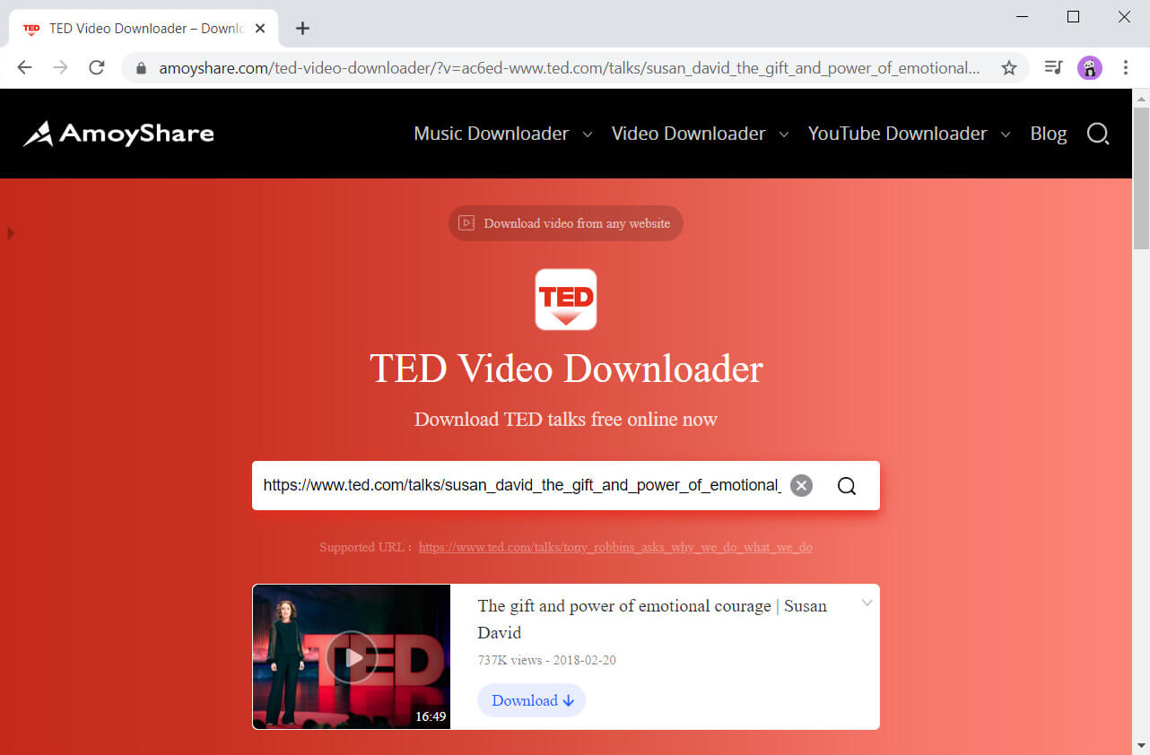 Suchen Sie mit TED Video Downloader nach TED-Videos