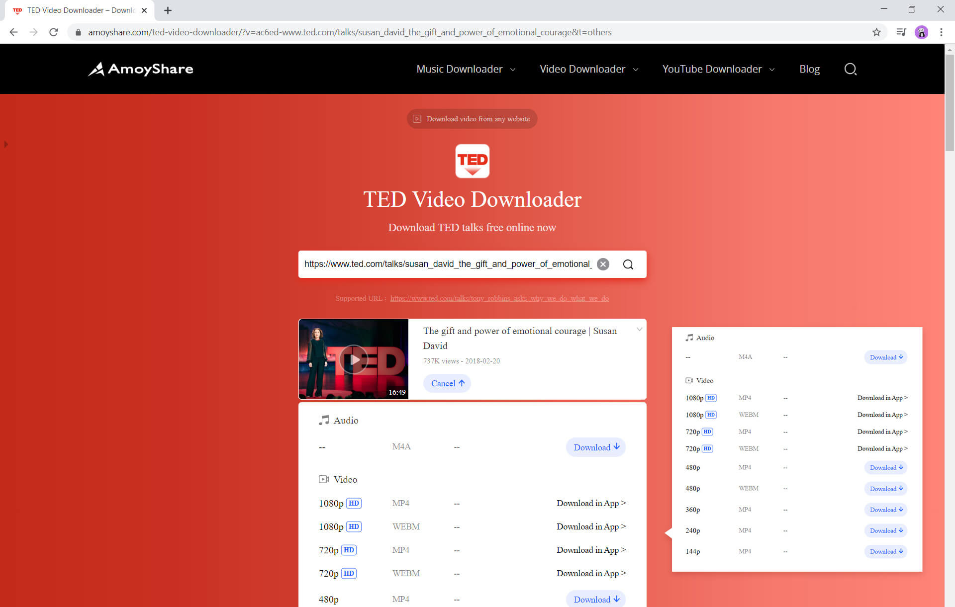 Different video resolutions to download