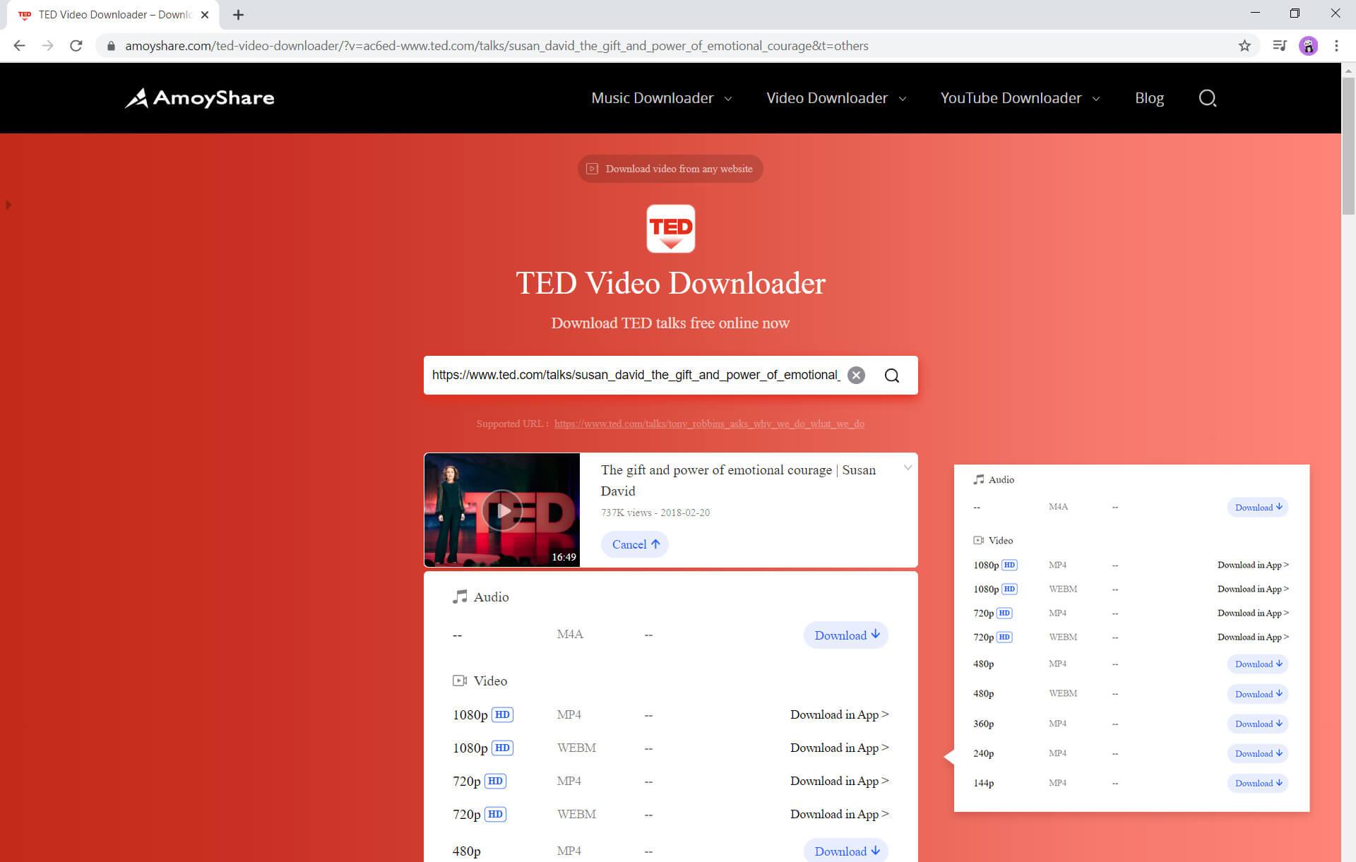 Verschiedene Videoauflösungen zum Herunterladen