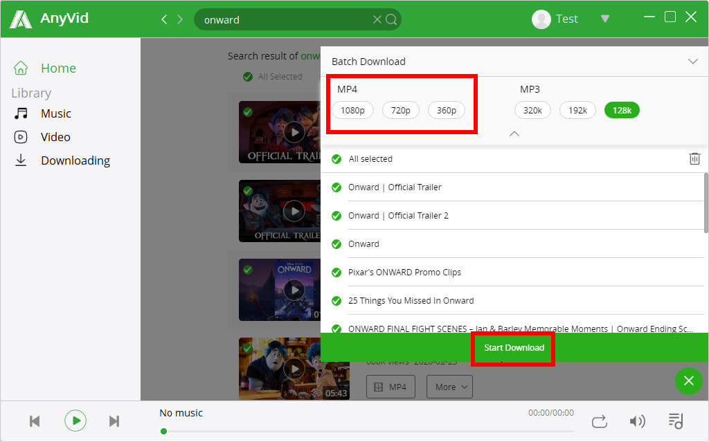 AnyVid Movie Batch-Download in MP4