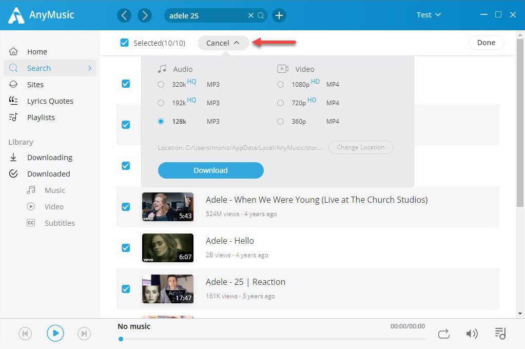 Audiomack-Wiedergabeliste zum MP3-Batch-Download mit AnyMusic