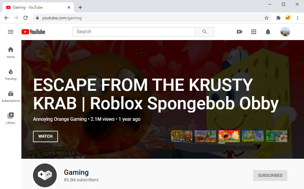Giochi su YouTube