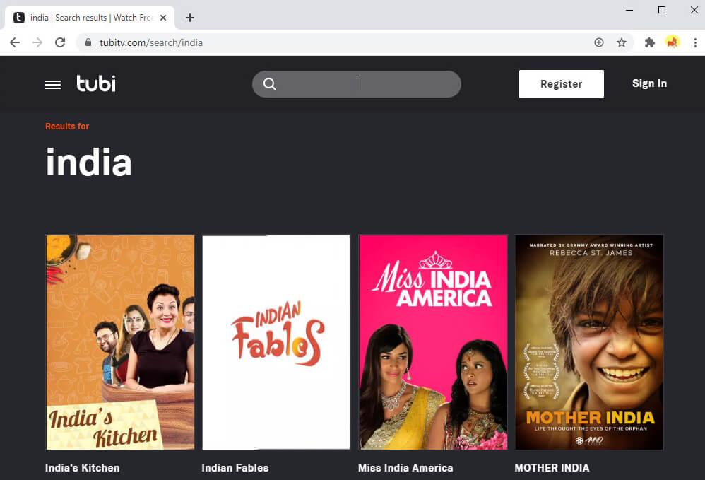 Puoi trovare molti film e programmi TV indiani su Tubi