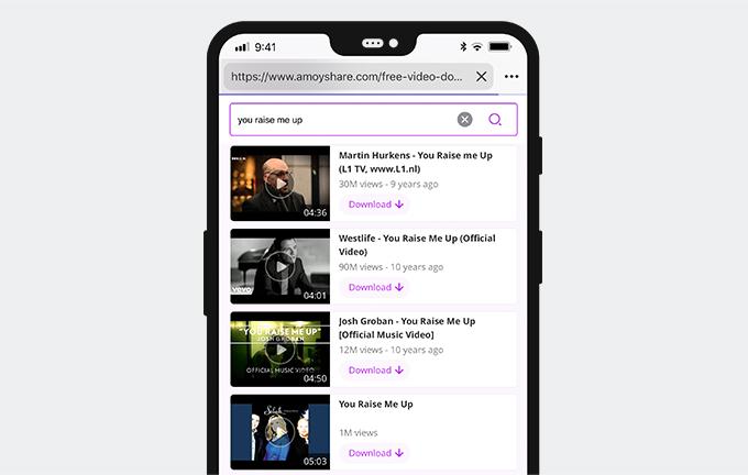 Anteprima video su AmoyShare Free Video Finder