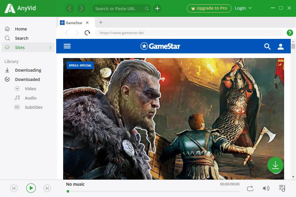 الوصول إلى GameStar عبر AnyVid