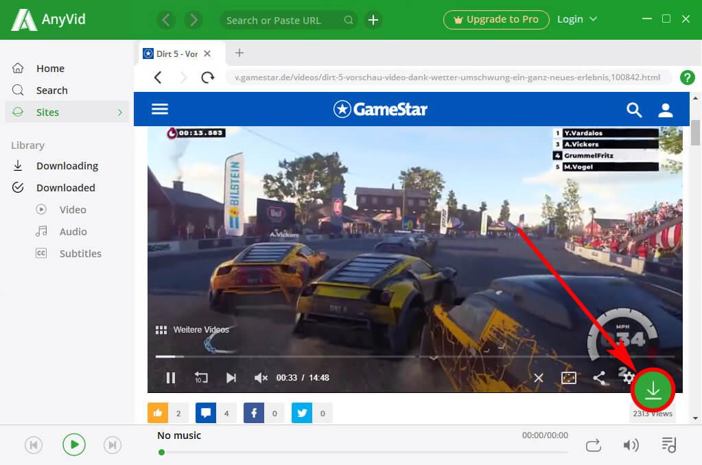 قم بتنزيل فيديو GameStar عبر AnyVid