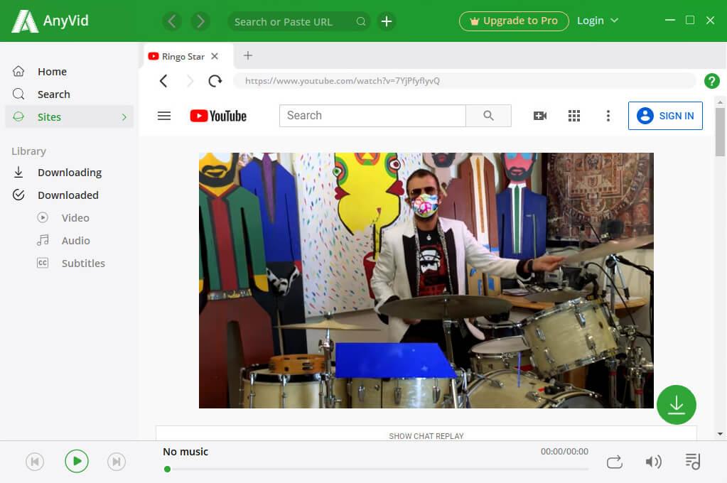 Streame YouTube auf AnyVid