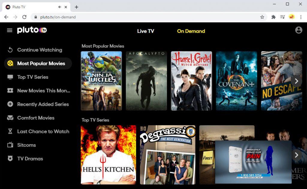 Websites wie FMovies - Pluto TV