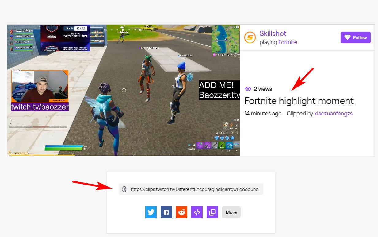 Teile deinen Twitch-Clip