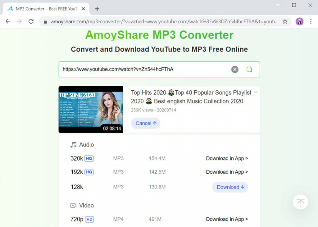 Laden Sie lange YouTube in MP3 auf AmoyShare MP3 Converter herunter