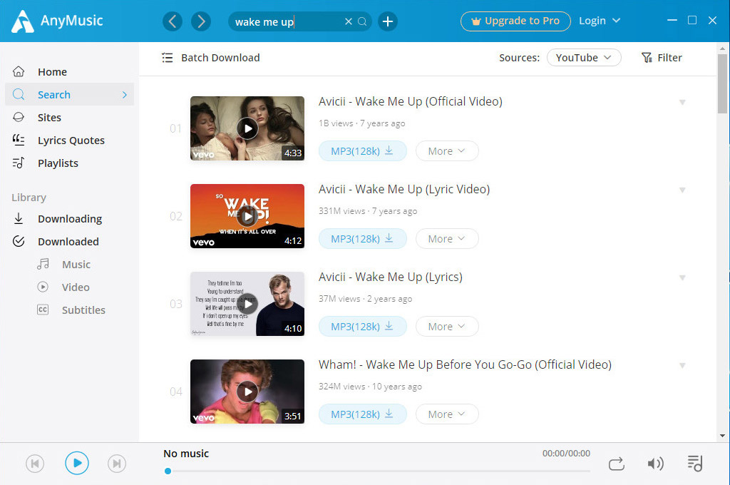 Search for music on AnyMusic