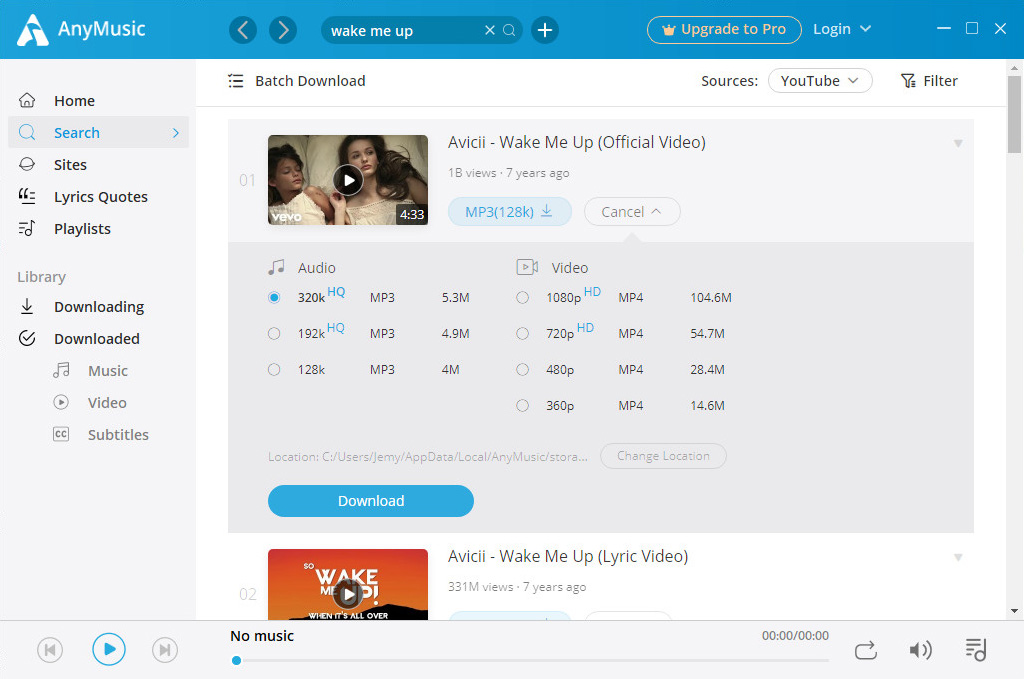 Download music on AnyMusic