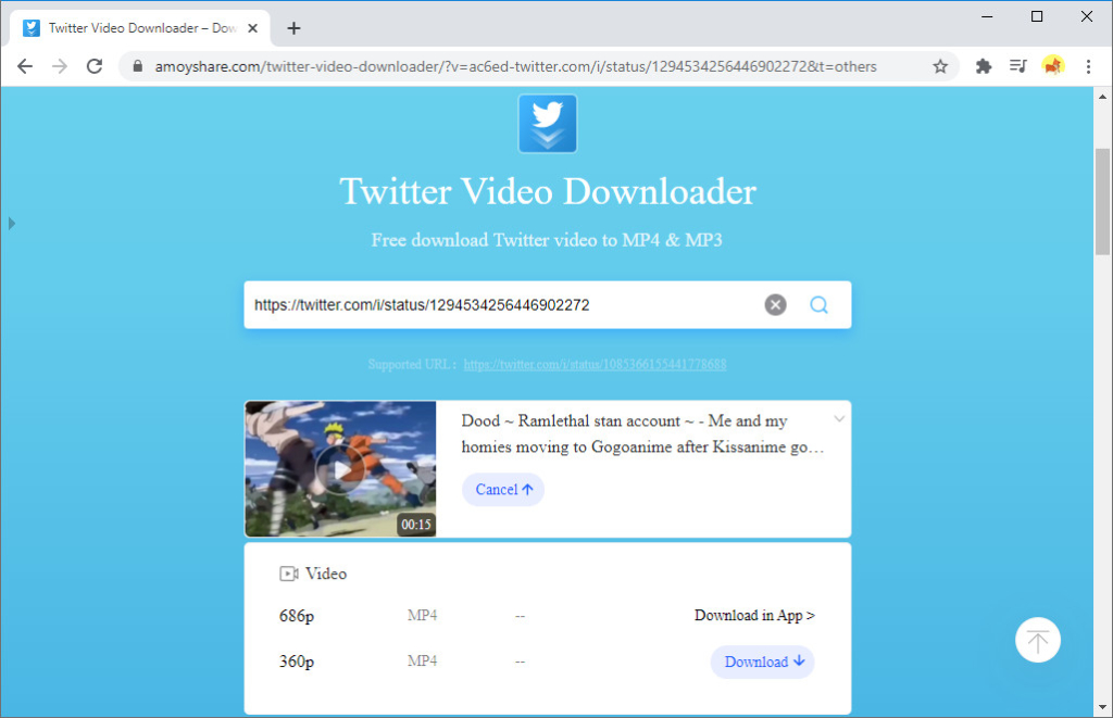 Scarica il video di Twitter su AmoyShare Twitter video downloader