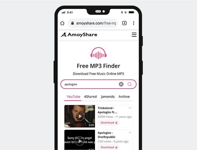Cerca musica con Free MP3 Finder