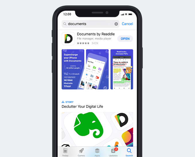 Laden Sie Dokumente per Readdle-App herunter
