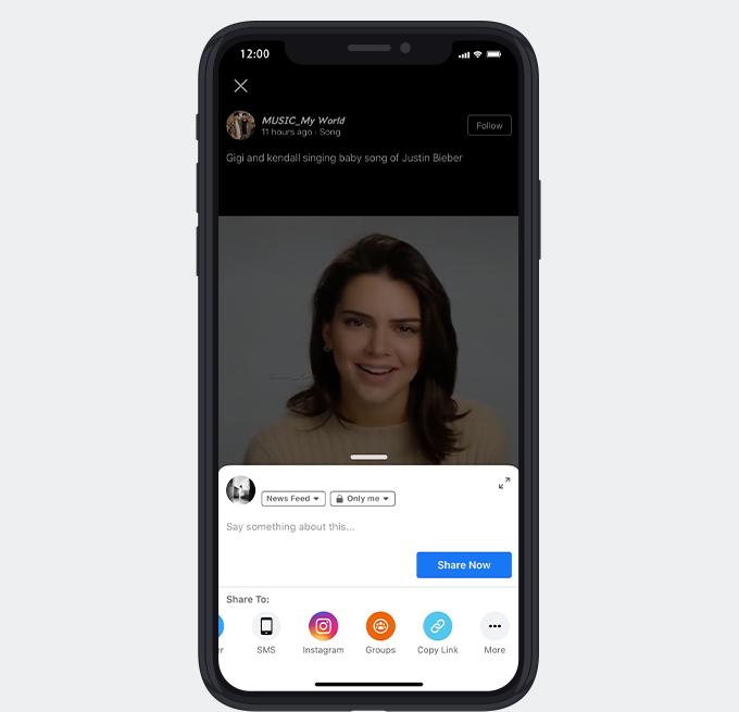 Kopieren Sie den Videolink von der Facebook-App