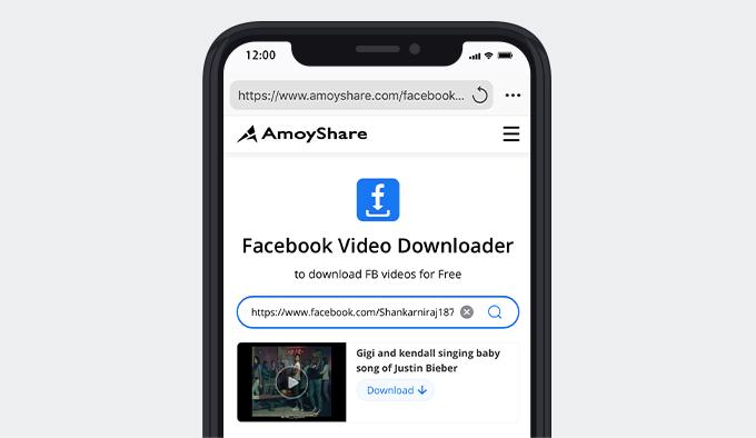 قم بزيارة Amoyshare وابحث عن فيديو FB