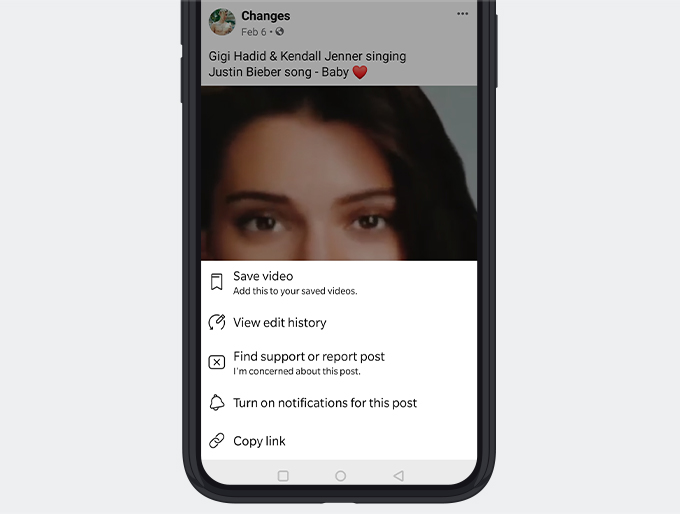 Copy video link from the Facebook app