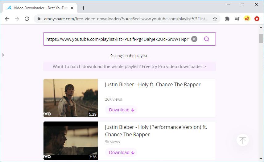 Scarica la playlist di YouTube online con Free Video Finder