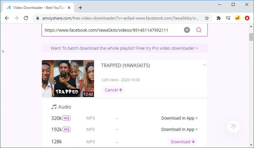 Scarica video di Facebook online con Free Video Finder