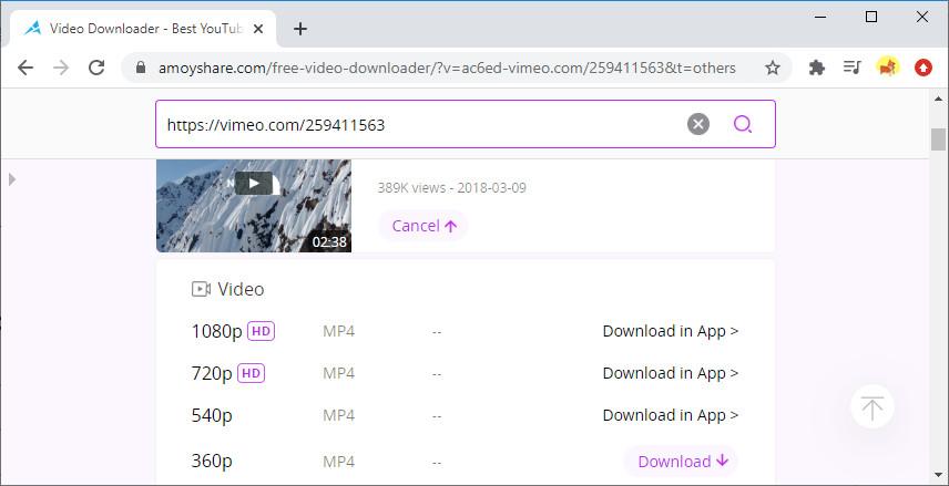 Scarica video Vimeo online con Free Video Finder