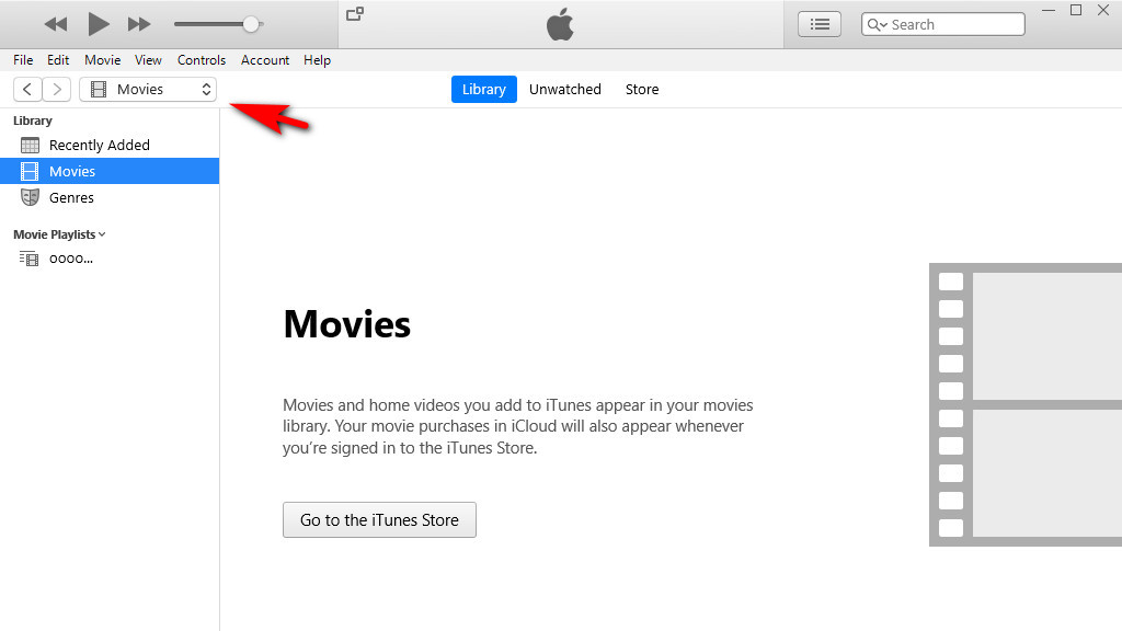 Apri iTunes e passa all'interfaccia su Film