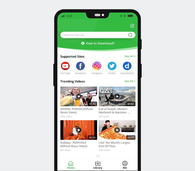 الصق الرابط في برنامج AnyVid Android