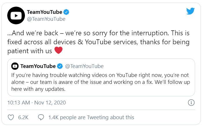 تم إصلاح خطأ تشغيل YouTube