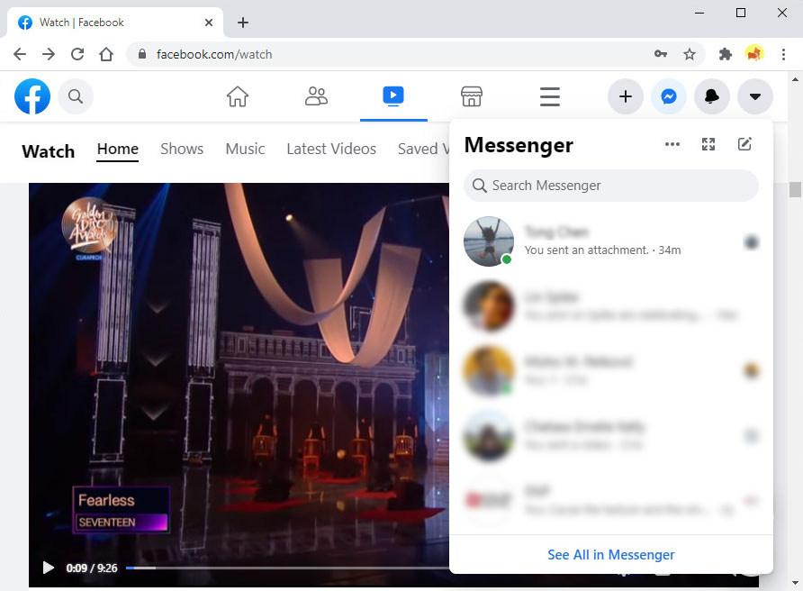 Open Messenger on web
