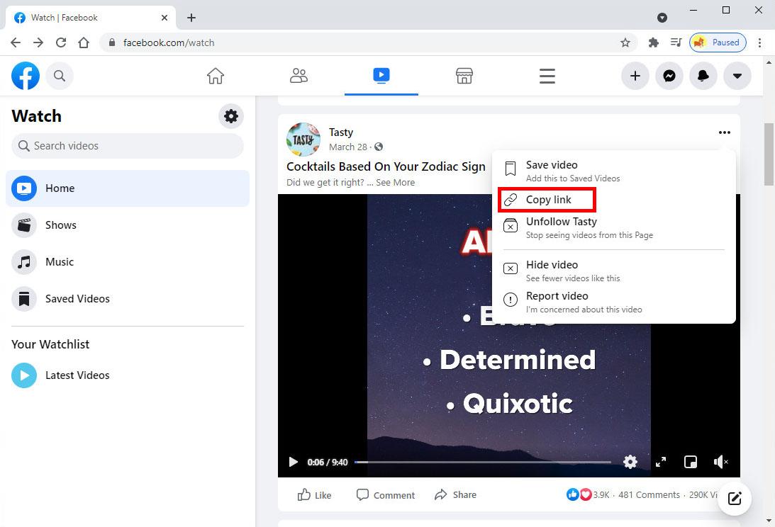 انسخ رابط فيديو Facebook