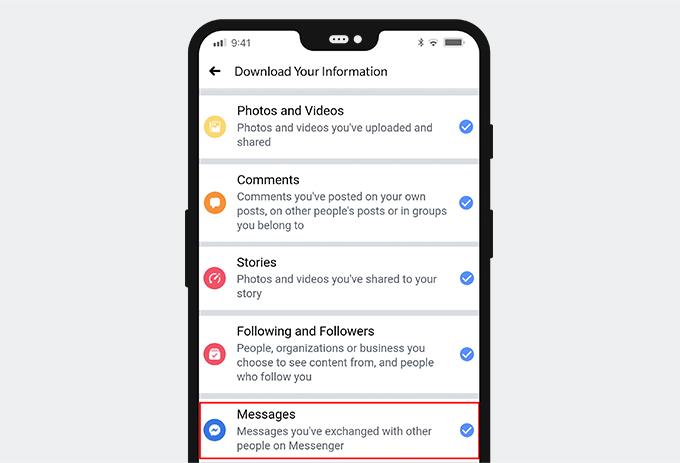 Wählen Sie Nachrichten auf Facebook