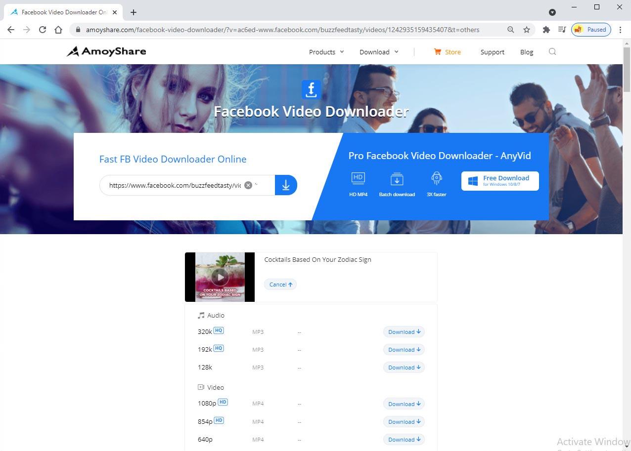Download Facebook video to computer online
