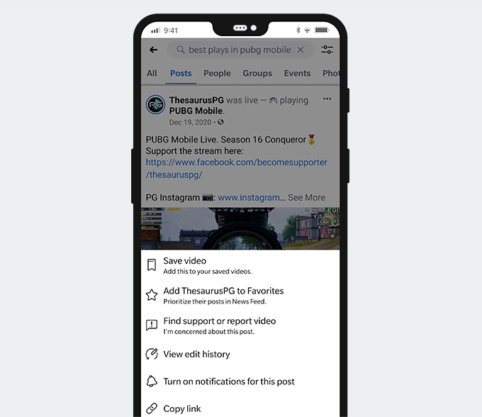 AndroidのFacebookライブビデオからリンクをコピーする