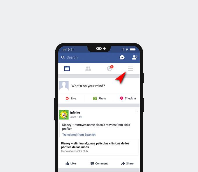 Apri il menu sulla tua home page di Facebook
