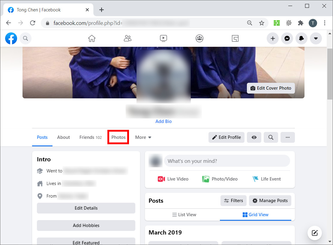 Click Photos tab on your profile page