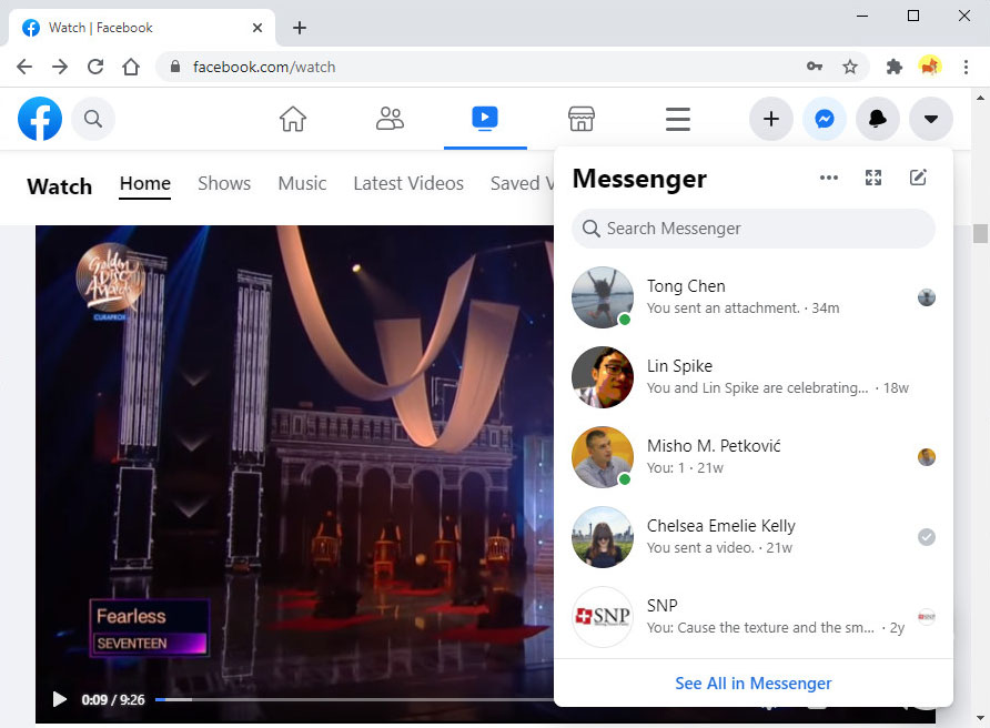 Open Messenger on the web