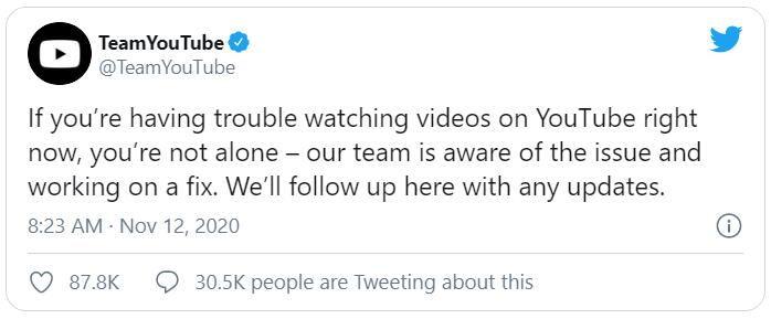 TeamYouTube YouTube error 400