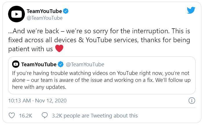 YouTube error 400 - TeamYouTube