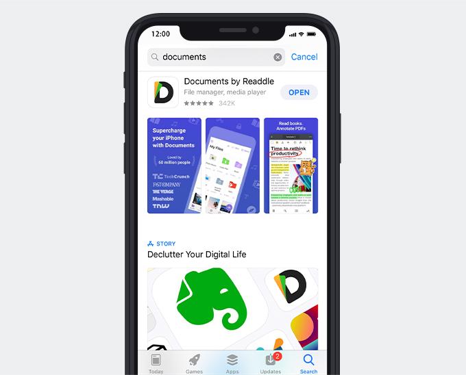 Laden Sie Dokumente per Readdle im App Store herunter