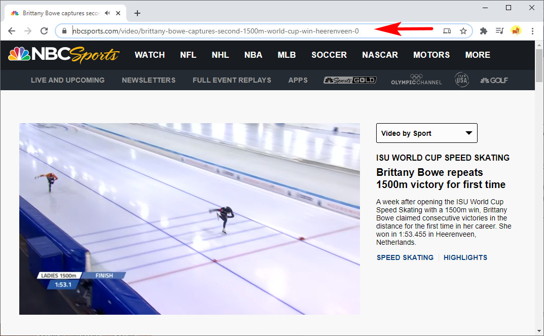 Copy a link from NBCSports