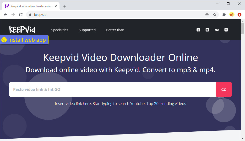 Keepvid Video Downloader عبر الإنترنت