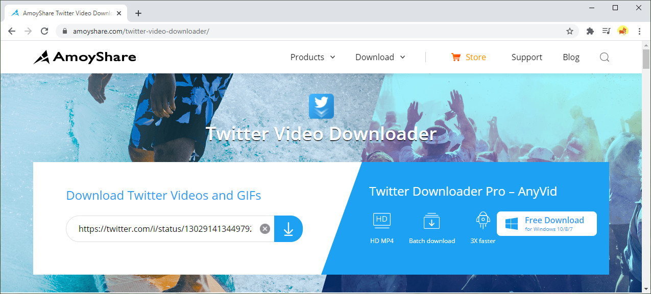 Paste the link to Amoyshare Twitter Video Downloader
