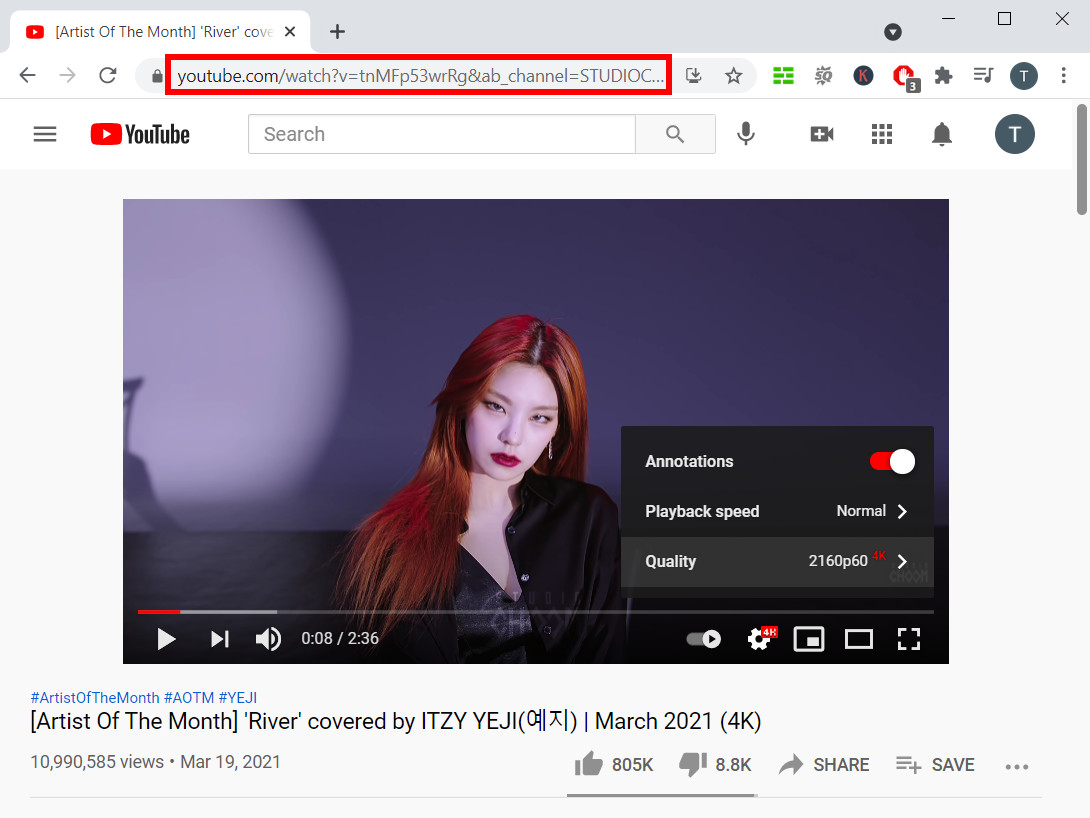 Copy 4K video link from YouTube