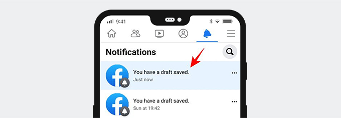 Find saved Facebook draft on notification