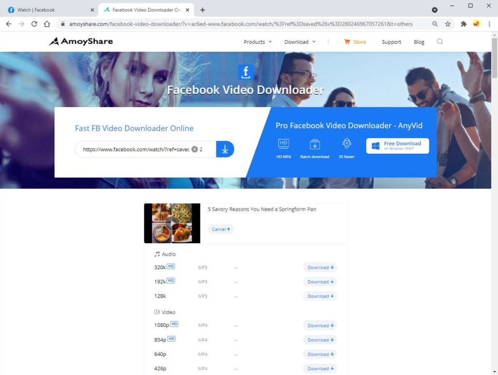 Download saved video from Facebook