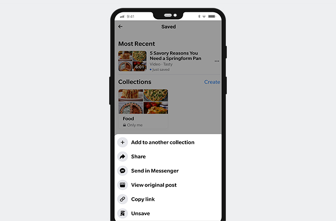 Delete saved Facebook post on mobile phone