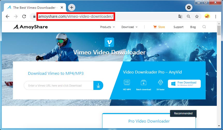 Open Amoyshare Vimeo video downloader